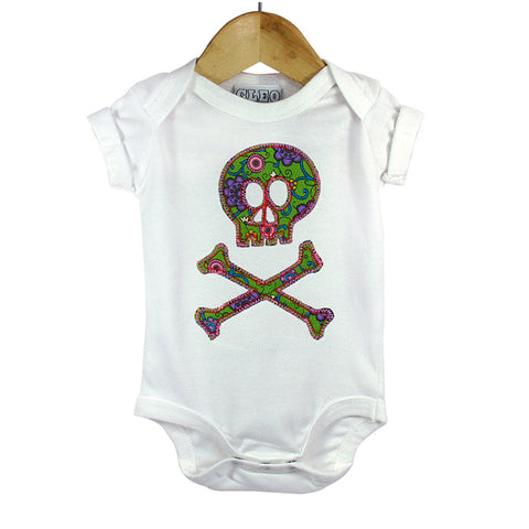Baby and Toddler Skull and Crossbones Patch Babygrow Pirate Inspired Unisex Design - Green Vintage Floral Print