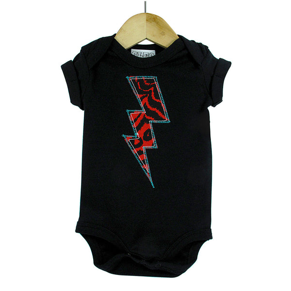 Baby and Toddler Lightening Bolt Patch Babygrow Superhero Inspired Unisex Design - Red Leopard Print