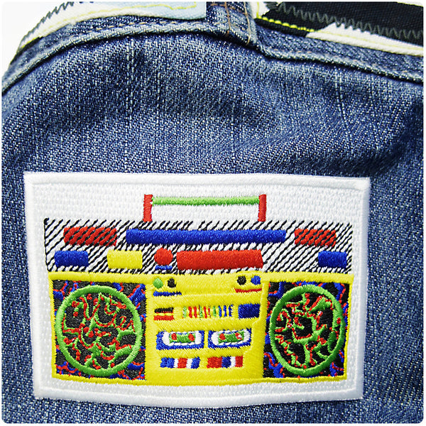 Ghetto Blaster/Boom Box Patch/Badge - Iron On Patch