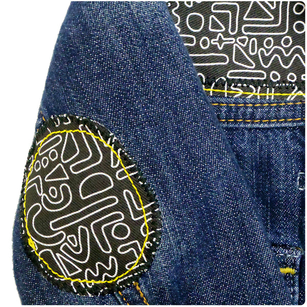 Baby/Toddler Custom Denim Jacket 12-18 Months With Monochrome Doodle Print - Festival Kids