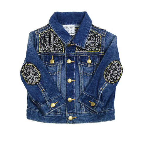 Baby/Toddler Custom Denim Jacket 18-24 Months With Monochrome Doodle Print - Festival Kids
