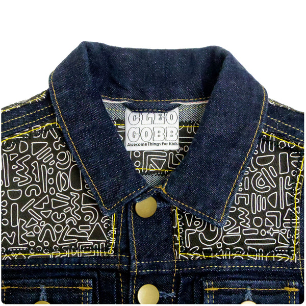 Children's Custom Denim Jacket 3-4 Years With Monochrome Doodle Print - Festival Kids