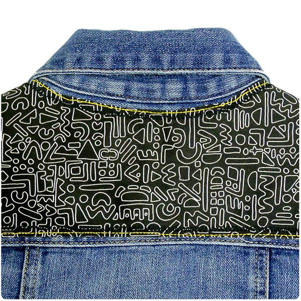Childrens' Custom Denim Jacket 6-7 Years With Monochrome Doodle Print - Festival Kids