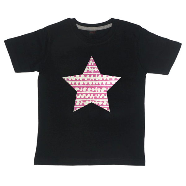 Childrens' Custom Star T-Shirt - Black/Personalised/Festival T-shirt
