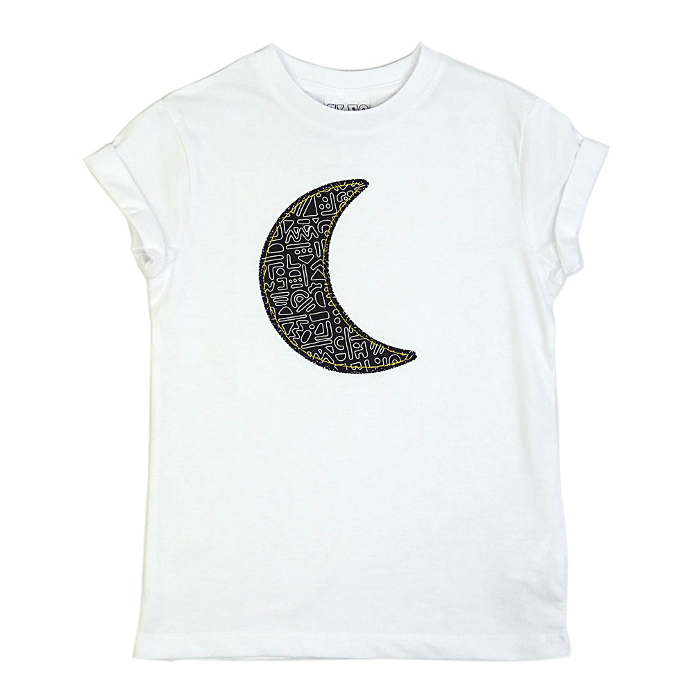 Childrens' Moon Patch Tee Unisex Design - Monochrome Doodle Print