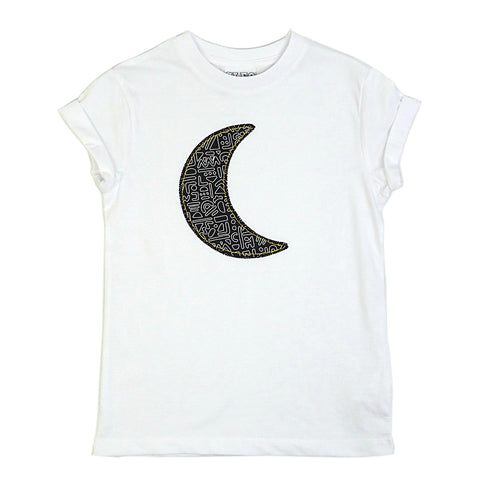 New Childrens' Moon Patch Tee Unisex Design - Monochrome Doodle Print