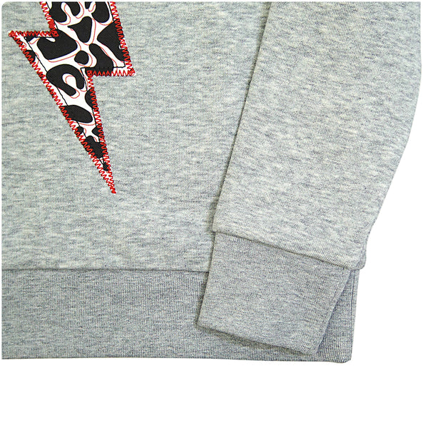 New Childrens' Lightening Bolt Patch Sweatshirt Unisex Design - Monochrome Animal Print