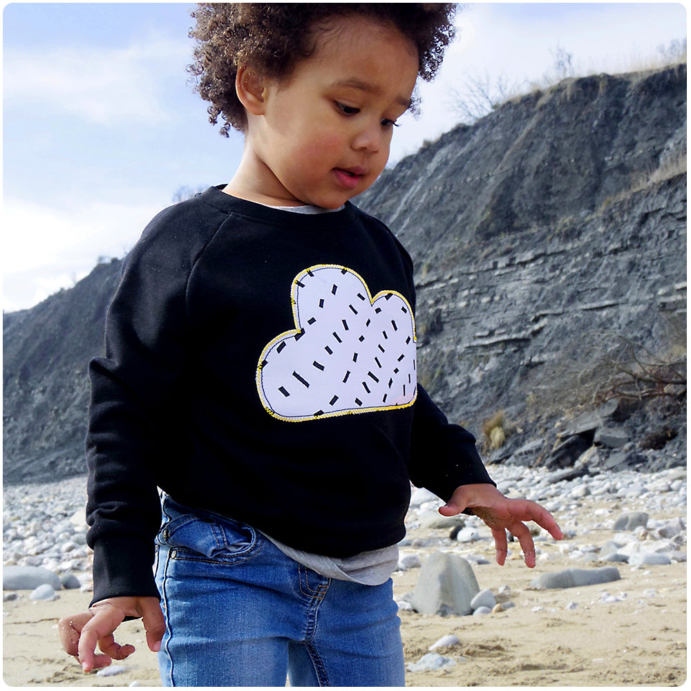 Childrens' Cloud Patch Black Sweatshirt Unisex Design - Monochrome Dash Print