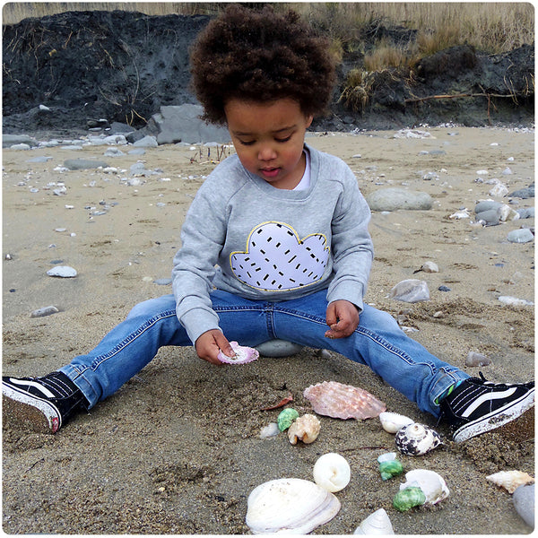 Childrens' Cloud Patch GREY Sweatshirt Unisex Design - Monochrome Dash Print