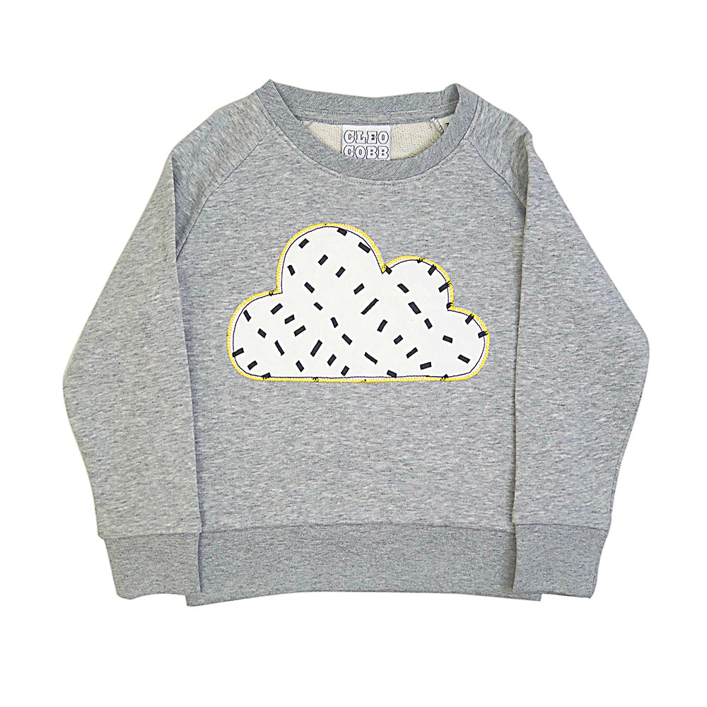 New Childrens' Cloud Patch Sweatshirt Unisex Design - Monochrome Dash Print