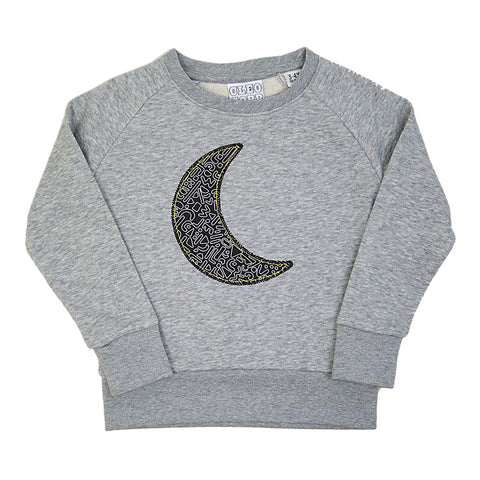 New Childrens' Moon Patch Sweatshirt Unisex Design - Monochrome Doodle Print