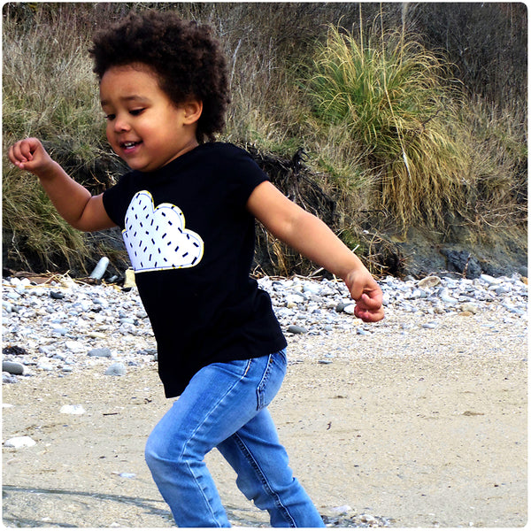 Childrens' Cloud Patch Tee Unisex Design - Monochrome Dash Print | Festival Kid