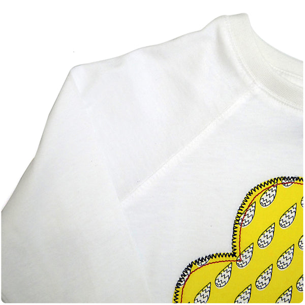 Childrens' Cloud Patch Long Sleeve T-Shirt Boho/Folk Inspired Unisex Design - Yellow Raindrop Print