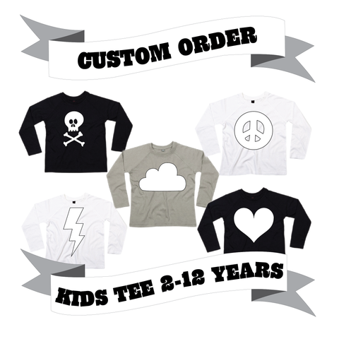 Childrens' Long Sleeve T-Shirt Number/Letter/Skull/Heart/Peace Sign/Cloud/Lightening/Moon Custom Order