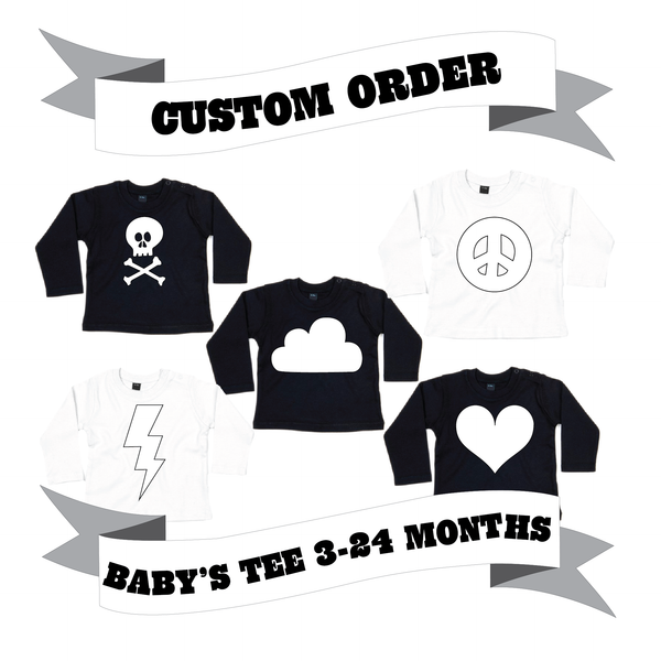 Baby and Toddler Long Sleeve T-Shirt Number/Letter/Skull/Heart/Peace Sign/Cloud/Lightening/Moon Custom Order