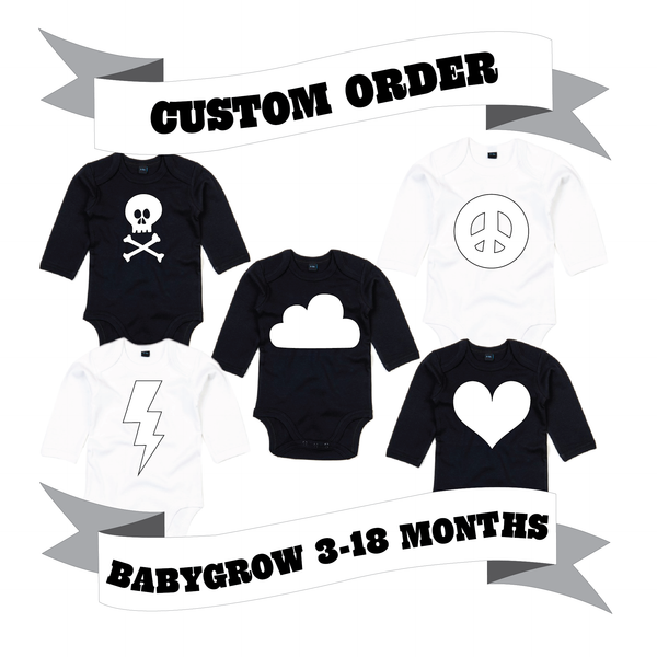 Baby/Toddler Long Sleeve Babygrow Number/Letter/Skull/Heart/Peace Sign/Cloud/Lightening/Moon Custom Order