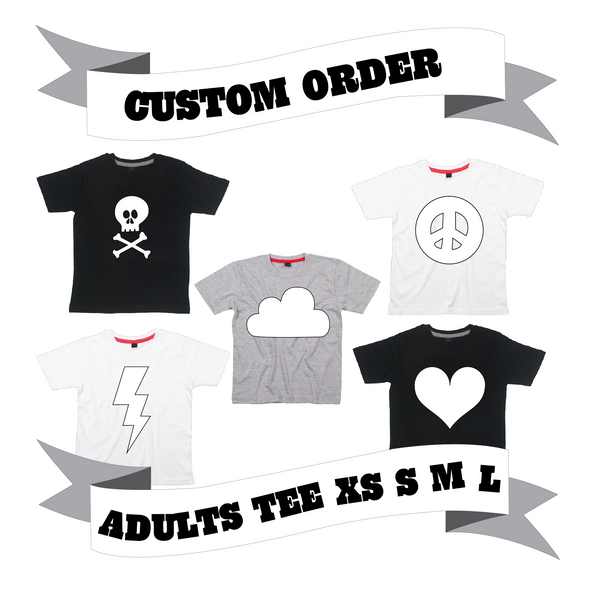 Grown Up/Mama/Papa T-Shirt Number/Letter/Skull/Heart/Peace Sign/Cloud/Lightening/Moon Custom Order