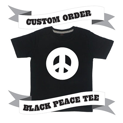 Childrens' Custom Peace Sign T-Shirt - Black/Personalised/Festival T-shirt