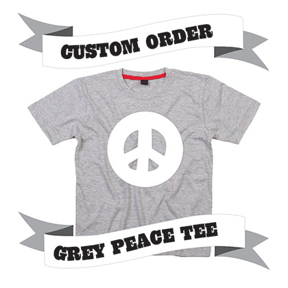 Childrens' Custom Peace Sign T-Shirt - Grey/Personalised/Festival T-shirt