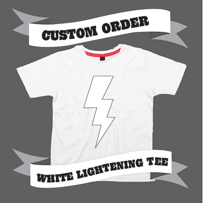 Childrens' Custom Lightening T-Shirt - White/Personalised/Festival T-shirt