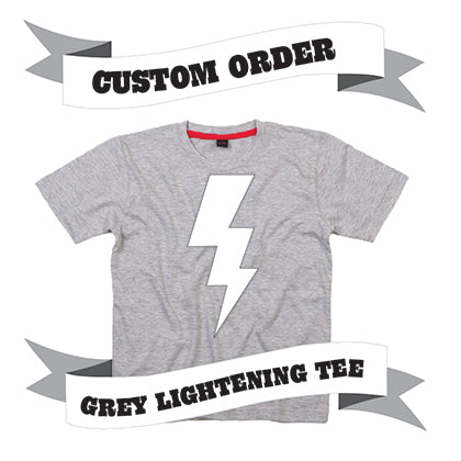 Childrens' Custom Lightening T-Shirt - Grey/Personalised/Festival T-shirt