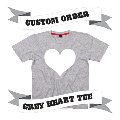 Childrens' Custom Heart T-Shirt - Grey/Personalised/Festival T-shirt