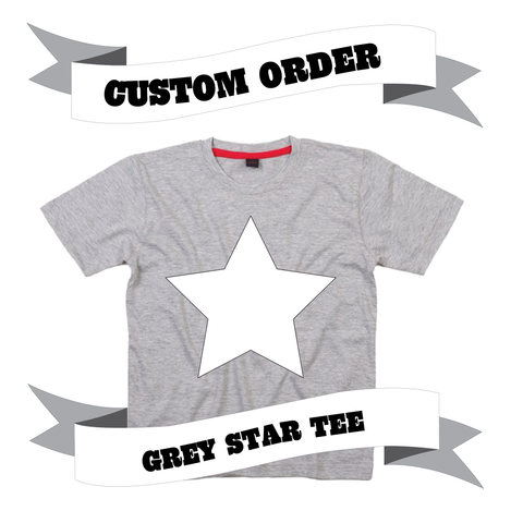 Childrens' Custom Star T-Shirt - Grey/Personalised/Festival T-shirt