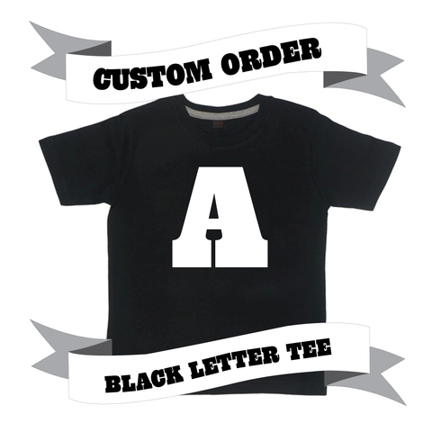 Childrens' Custom Letter T-Shirt - Black/Personalised/Festival T-shirt