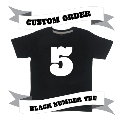 Childrens' Custom Number T-Shirt - Black/Personalised/Festival T-shirt