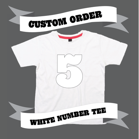 Childrens' Custom Number T-Shirt - White/Personalised/Festival T-shirt