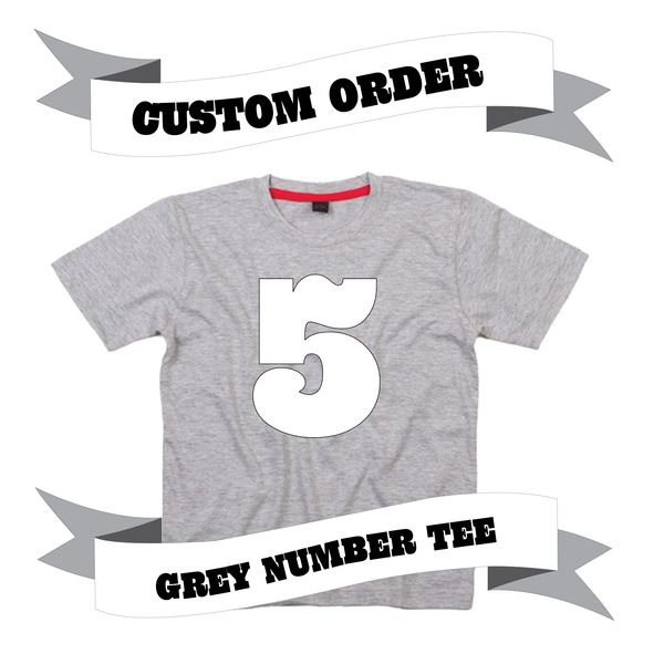 Childrens' Custom Number T-Shirt - Grey/Personalised/Festival T-shirt