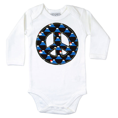 Baby and Toddler Peace Sign Patch Long Sleeve Babygrow 90s Inspired Unisex Design - Volcano Print