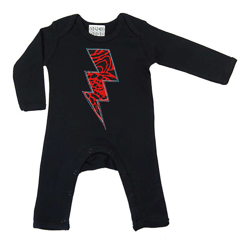 Baby and Toddler Lightening Bolt Patch Romper Superhero Inspired Unisex Design - Red Leopard Animal Print