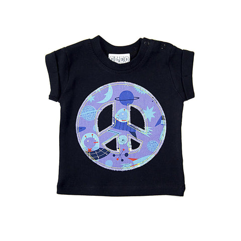 Baby and Toddler Peace Sign Patch T-Shirt 90s Inspired Unisex Design - Space Print