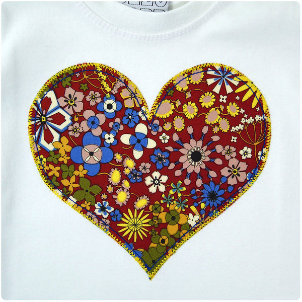 Baby and Toddler Love Heart Patch T-Shirt Inspired by Love Unisex Design - Red Floral Print