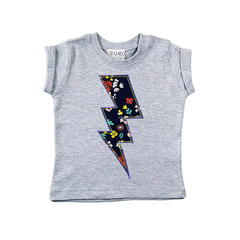 Baby and Toddler Lightening Bolt Patch T-Shirt Superhero Inspired Unisex Design - Navy Floral Print