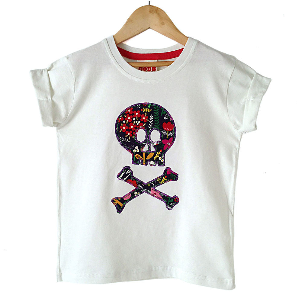 Childrens' Skull and Crossbones Patch T-Shirt Pirate Inspired Unisex Design -  Graphic Floral Print