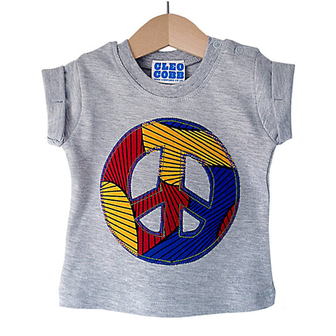 Baby and Toddler Peace Sign Patch T-Shirt 90s Inspired Unisex Design - Primary Colour African Wax Print