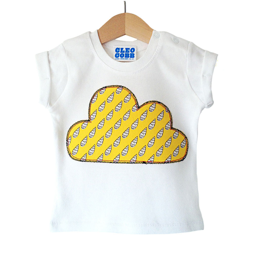 Baby and Toddler Cloud Patch T-Shirt Boho/Folk Inspired Unisex Design - Yellow Raindrop Print