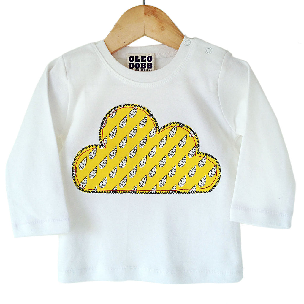 Baby and Toddler Cloud Patch Long Sleeve T-Shirt 90s Inspired Unisex Design - Yellow Raindrop Print