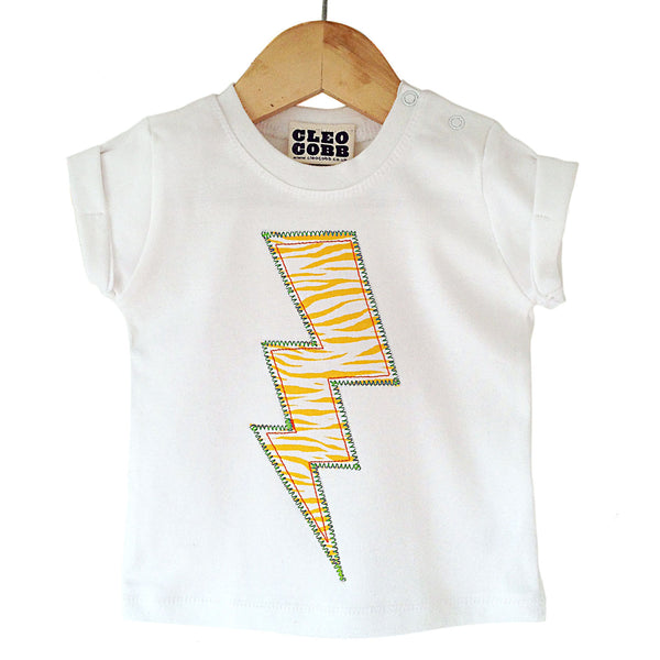 Baby and Toddler Lightening Bolt Patch T-Shirt Superhero Inspired Unisex Design - Yellow Zebra Animal Print