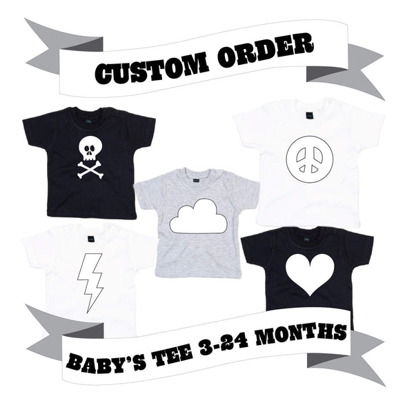 Baby and Toddler T-Shirt Number/Letter/Skull/Heart/Peace Sign/Cloud/Lightening Custom Order