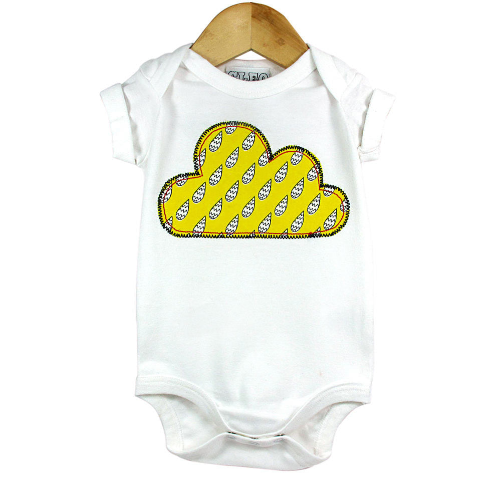 Baby and Toddler Cloud Patch Babygrow Boho/Folk Inspired Unisex Design - Yellow Raindrop Print