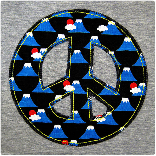 Childrens' Peace Sign Patch T-Shirt 90s Inspired Unisex Design - Volcano Print