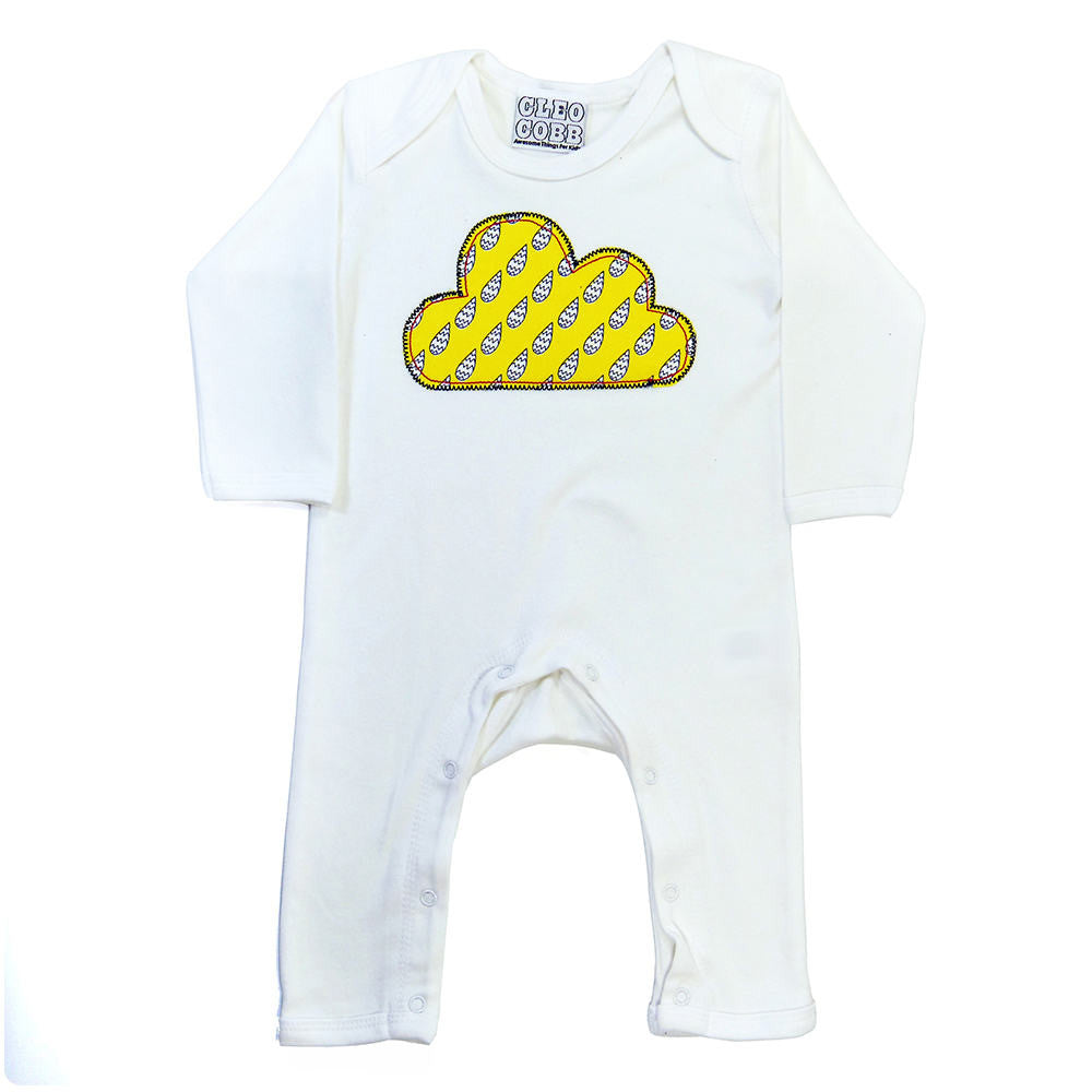 44c84d82fab8 Baby and Toddler Cloud Patch Romper Boho Folk Inspired Design - Yellow  Raindrop Print