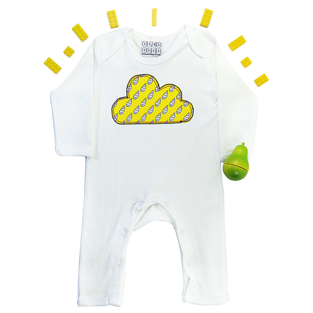 6f1dea130169 ... Baby and Toddler Cloud Patch Romper Boho Folk Inspired Design - Yellow  Raindrop Print ...