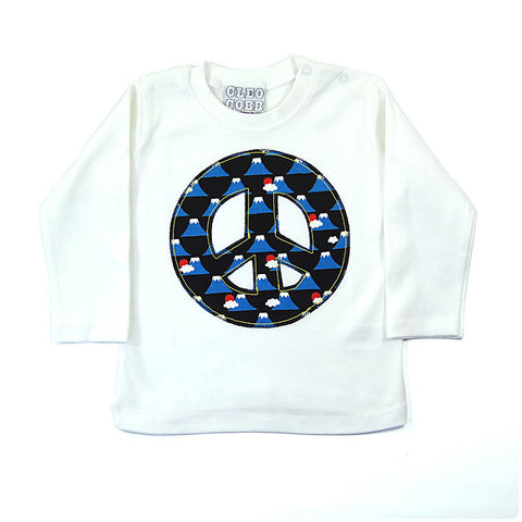 Baby and Toddler Peace Sign Patch Long Sleeve T-Shirt 90s Inspired Unisex Design -Volcano Print