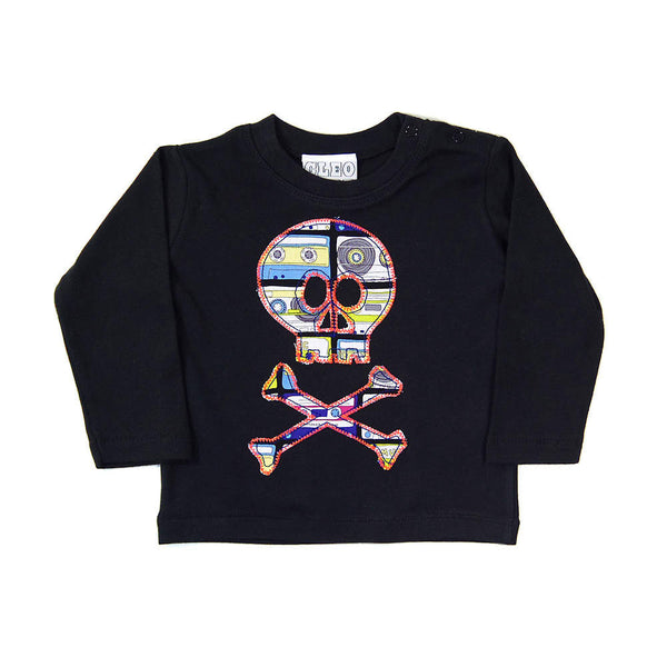 Baby and Toddler Skull and Crossbones Patch Long Sleeve T-Shirt Pirate Inspired Unisex Design - Multi-coloured Cassette Tape Print