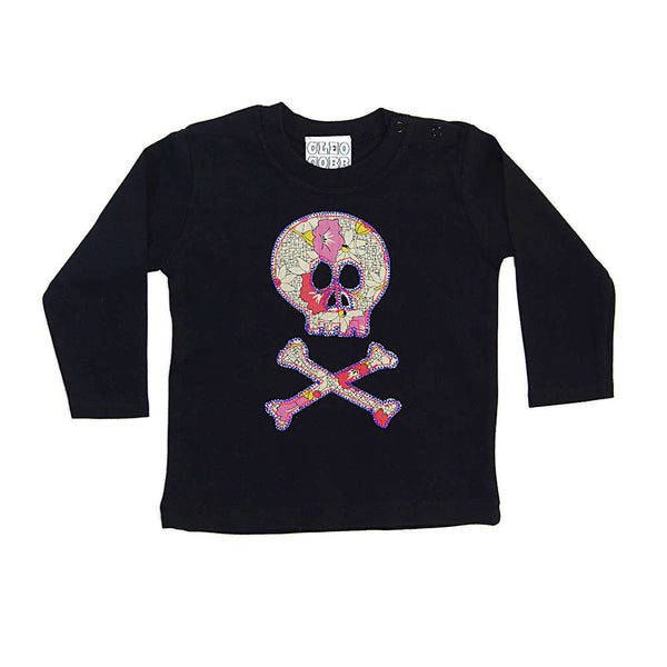 Baby and Toddler Skull and Crossbones Patch Long Sleeve T-Shirt Pirate Inspired Unisex Design - Vintage Floral Print