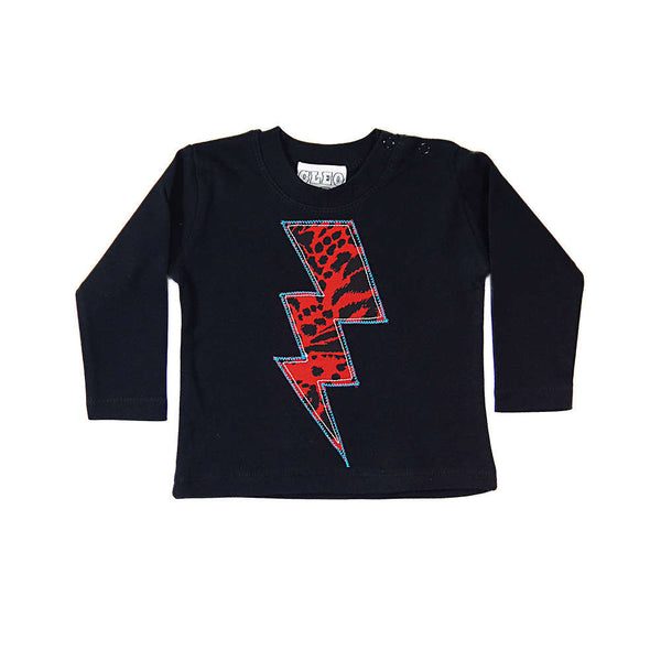 Baby and Toddler Lightening Bolt Patch Long Sleeve T-Shirt Superhero Inspired Unisex Design - Red Leopard Print